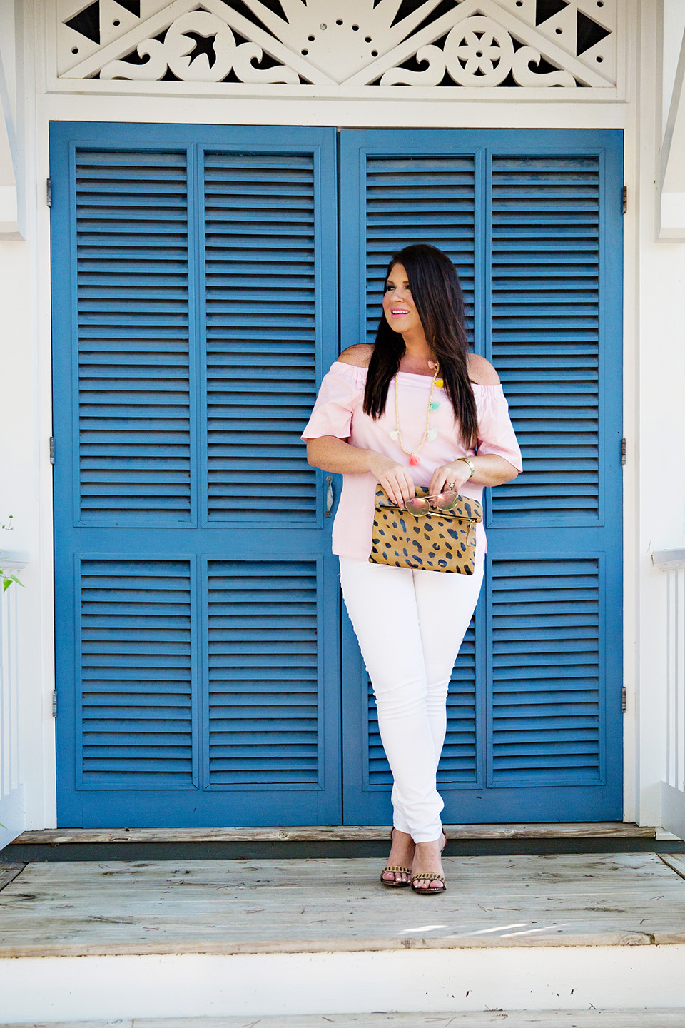 Jami Ray 30A Street Style White Jeans Pink Off the Shoulder Seaside Florida 1