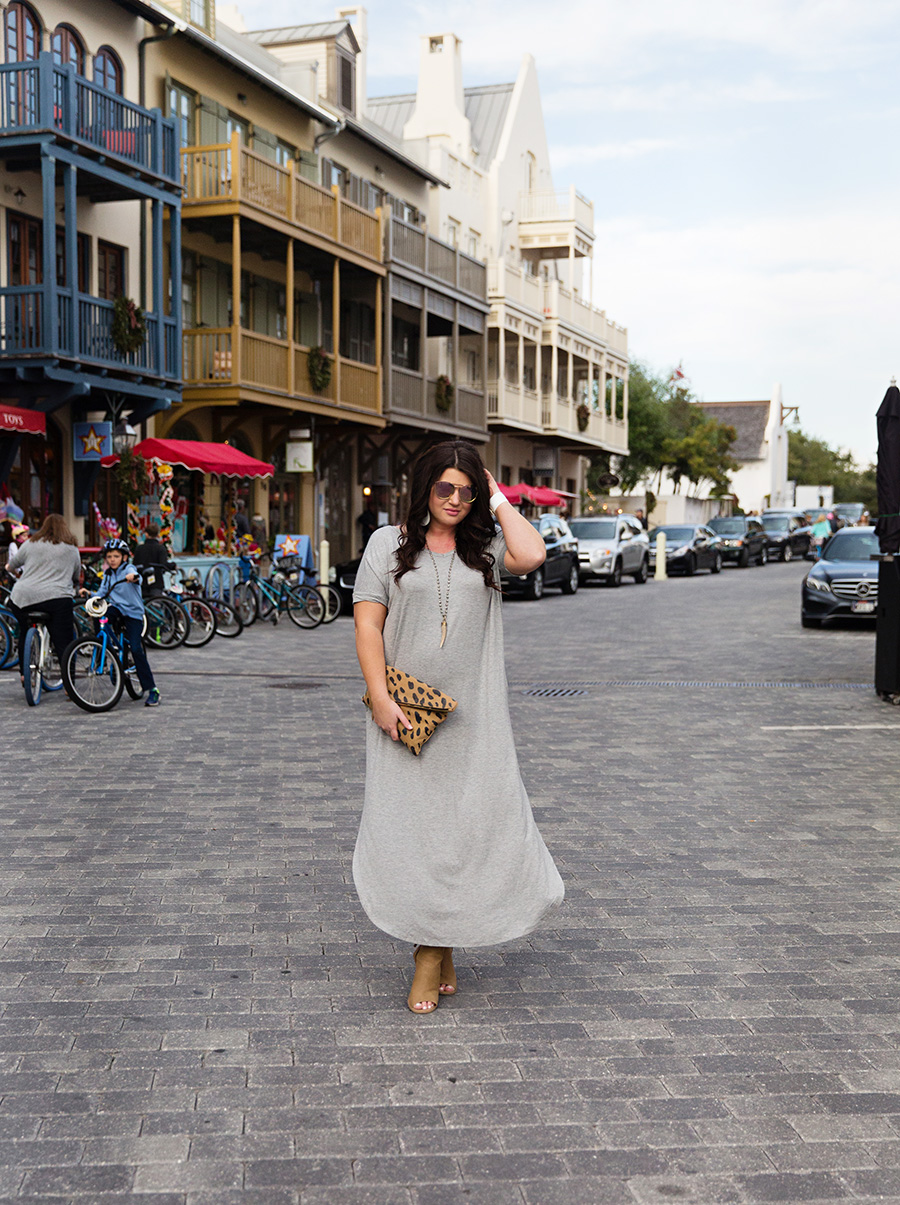 This grey T-shirt maxi is the perfect vacay dress to wear in Rosemary Beach