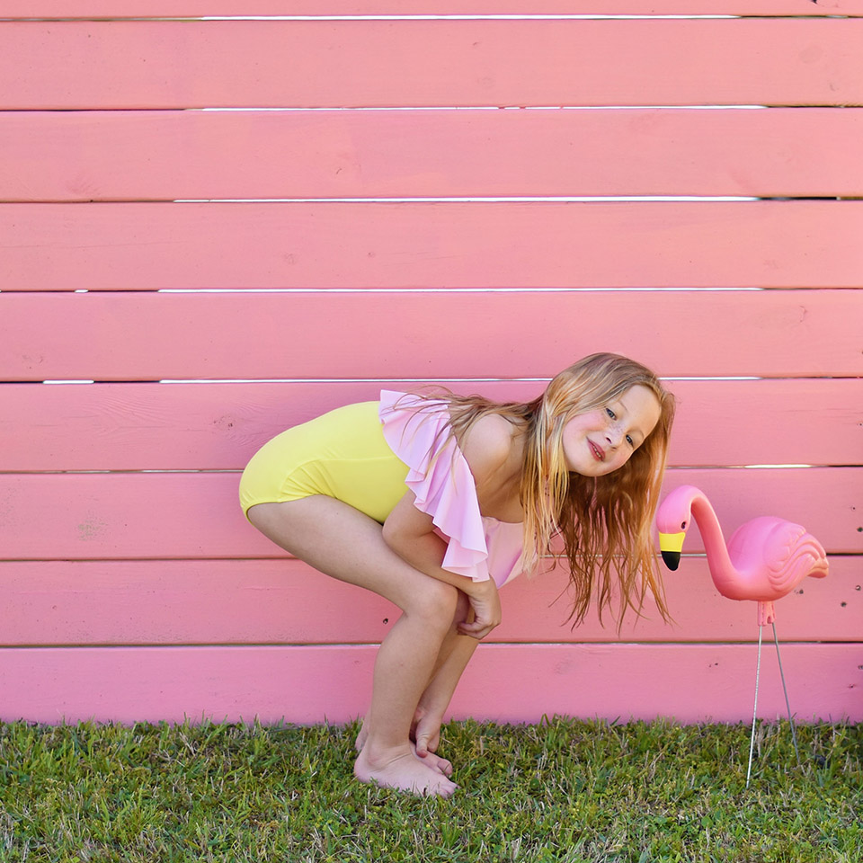 6th Birthday Flamingle - Flamingo Love wearing Stella Cove