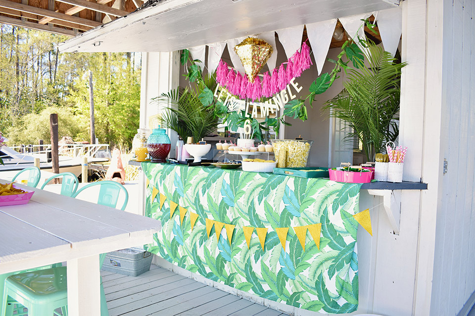6th Birthday Flamingle - Florida Dock Party Bar with Palm Print Let's Flamingle