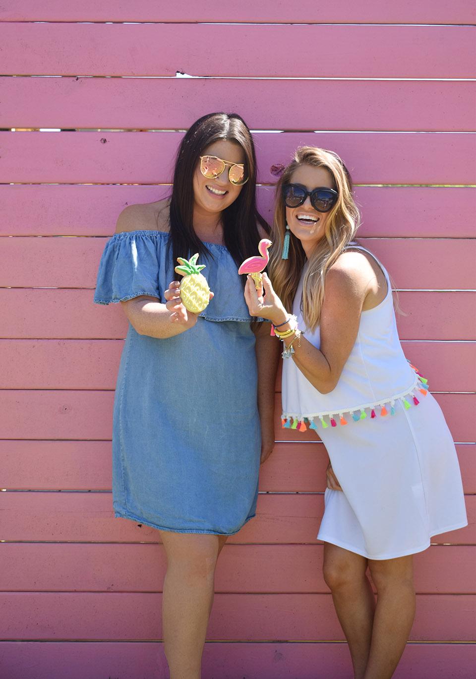 6th Birthday Flamingle - Jami Ray Jessica Fay Pink Wall Pineapple Flamingo Cookies