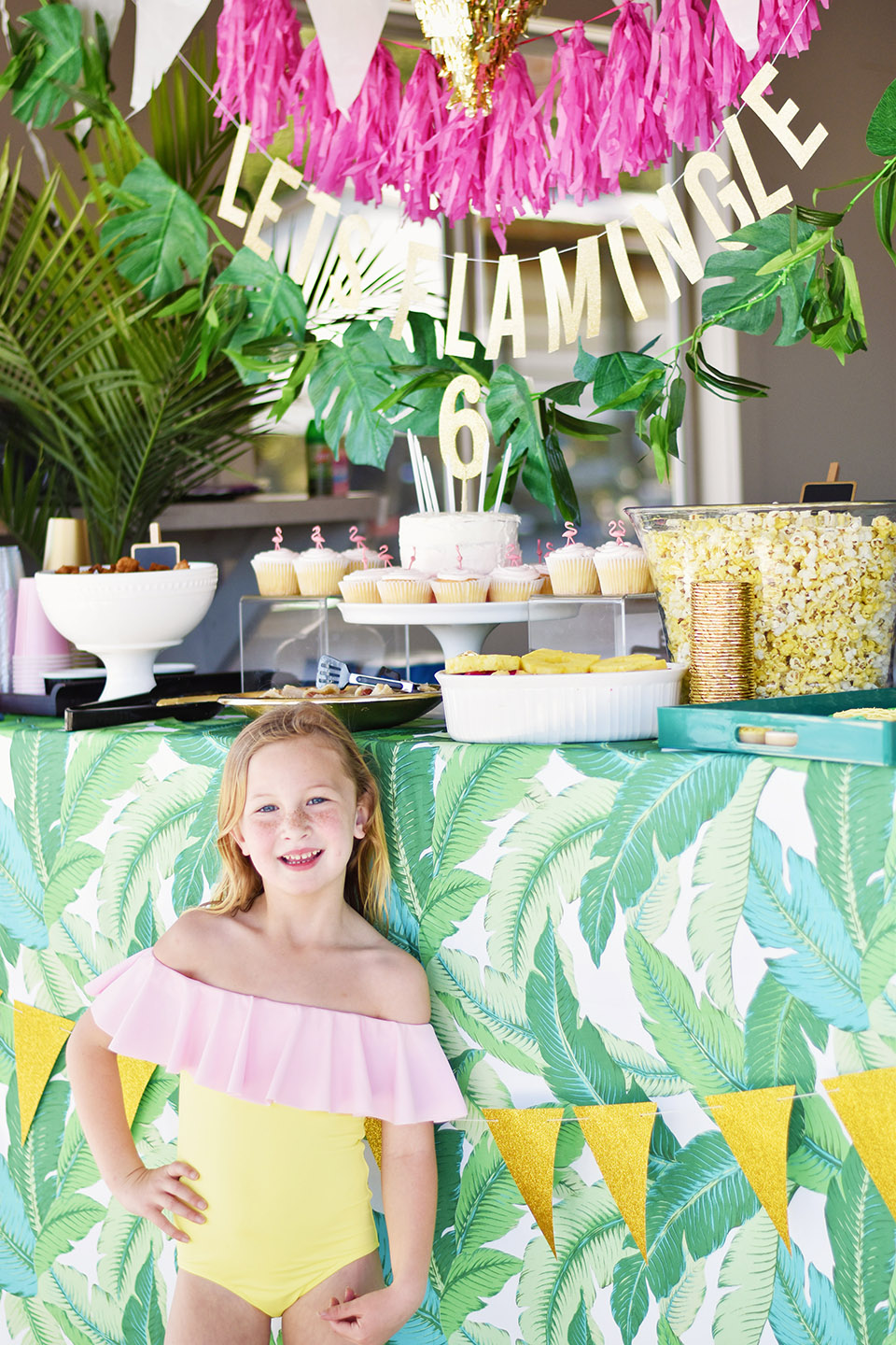 6th Birthday Flamingle Party Bar - cutest bathing suit