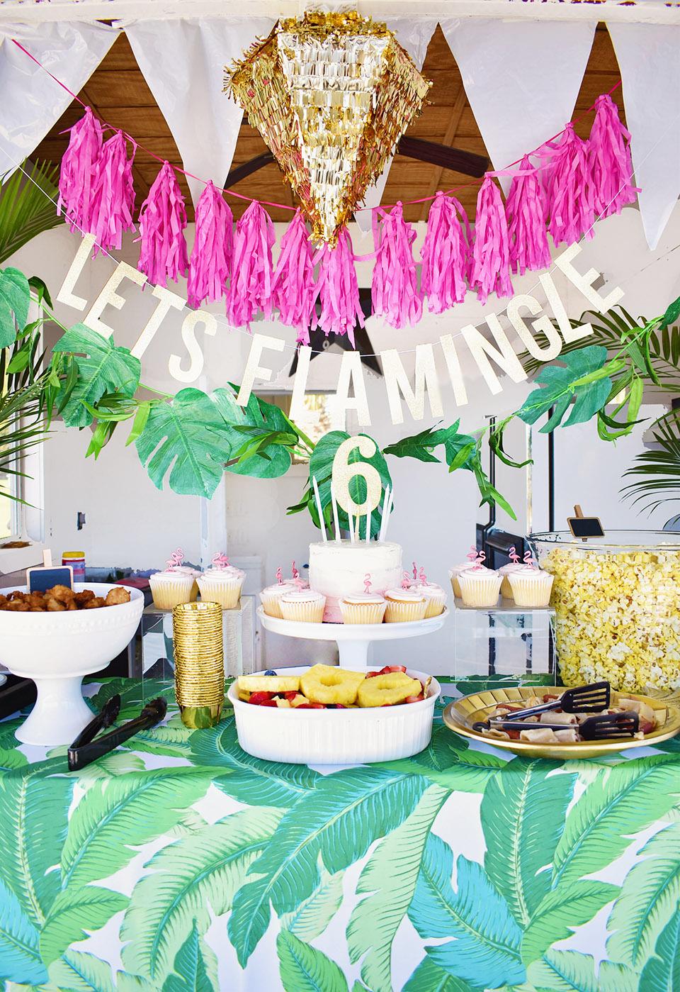 6th Birthday Flamingle Party Bar