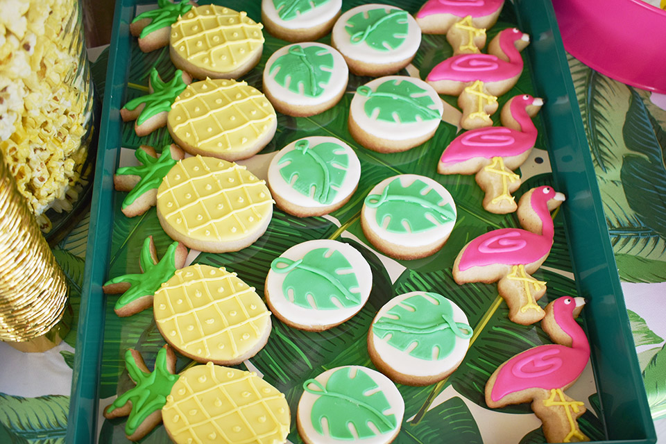 6th Birthday Flamingle - Pineapple Cookies Flamingo Cookies Palm Cookies