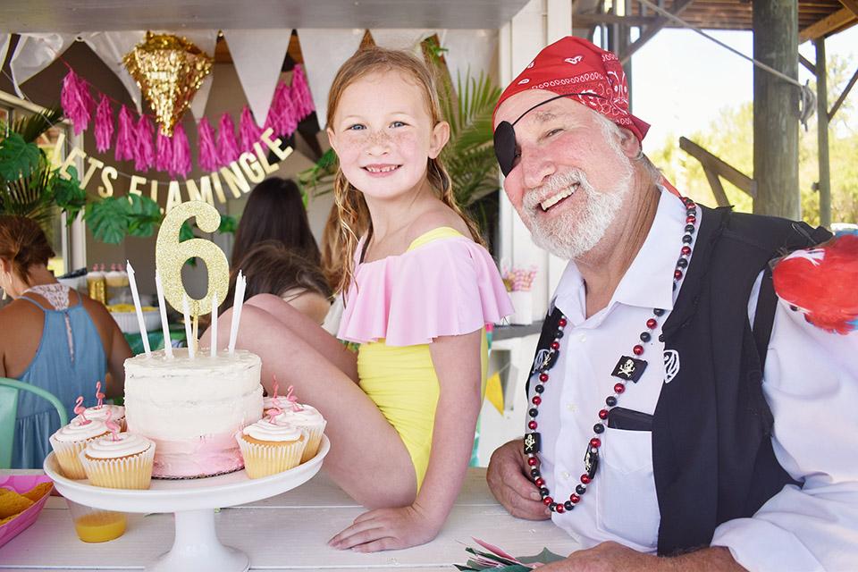 6th Birthday Flamingle - pirate birthday treasure hunters