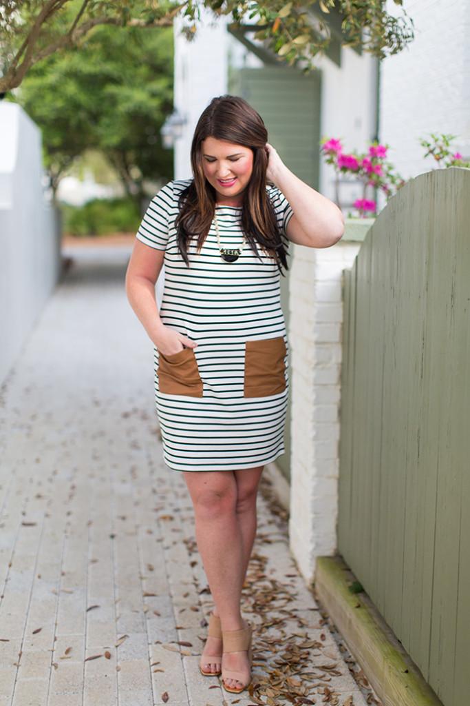 30A Street Style Jami Black White Stripe Dress 30A Style 5