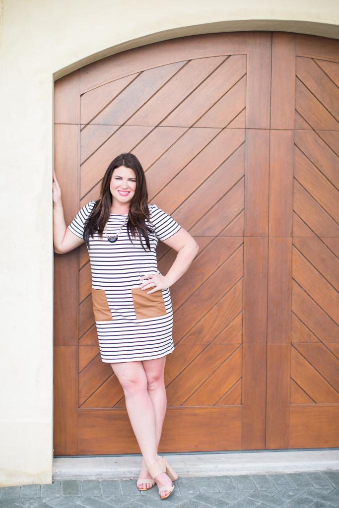 30A Street Style Jami Black White Stripe Dress 30A Style 4