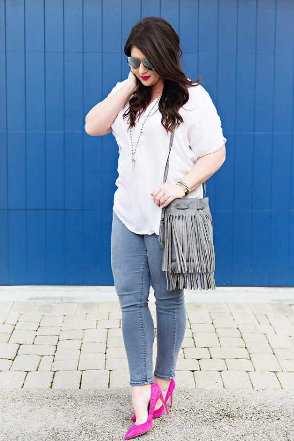 Grey Jeans Pink Heels Fringe 30A Street Style Jami Ray