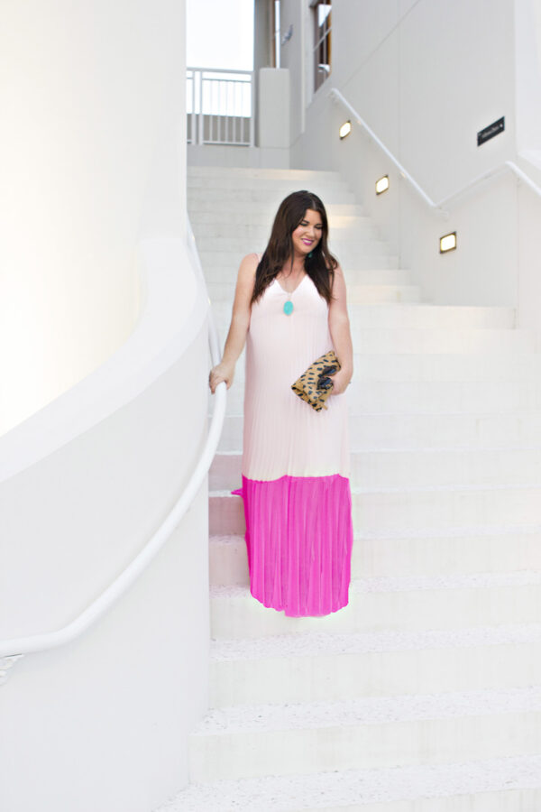 Pink Pleat Colorblock Maxi