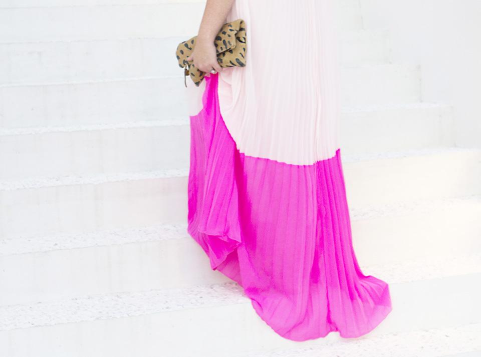 Pink Pleat Colorblock Pink Maxi Dress