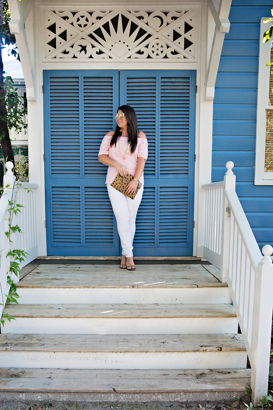 Jami Ray 30A Street Style White Jeans Pink Off the Shoulder Seaside Florida 7
