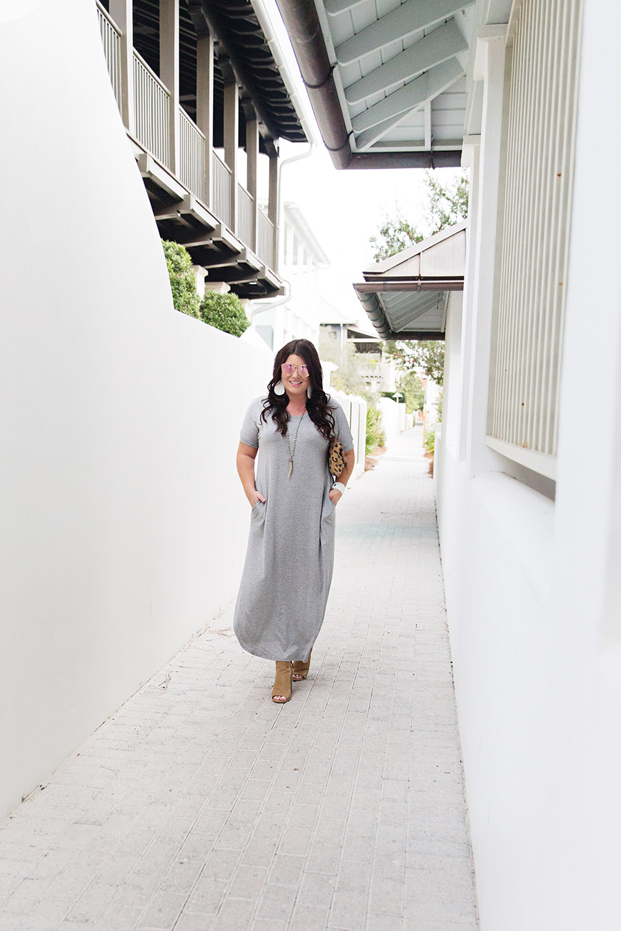 Grey T-shirt Maxi Nickel and Suede Earrings