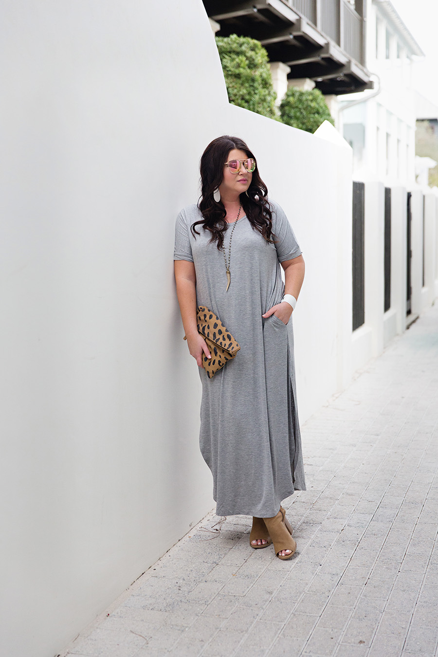 Grey Tshirt Maxi Nickel and Suede Earrings