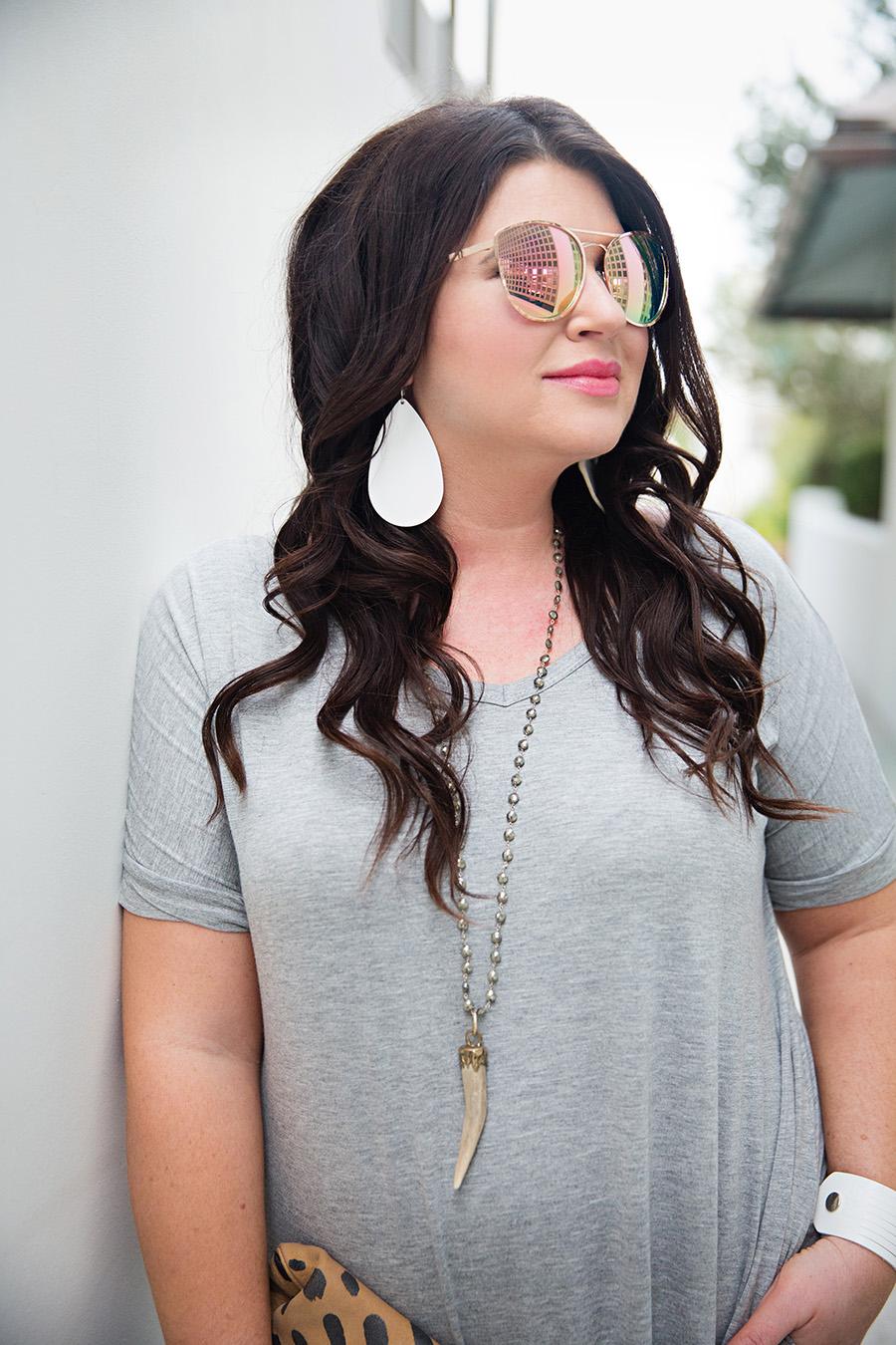 Grey Tshirt Maxi Nickel and Suede Earrings