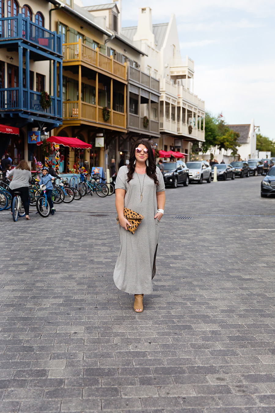 This grey T-shirt maxi is the perfect vacay dress to wear in Rosemary Beach. Love the Nickel and Suede leather earrings!
