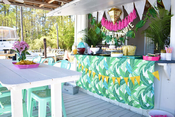 6th Birthday Flamingle - Florida Dock Party Palm Print Green Pink Party