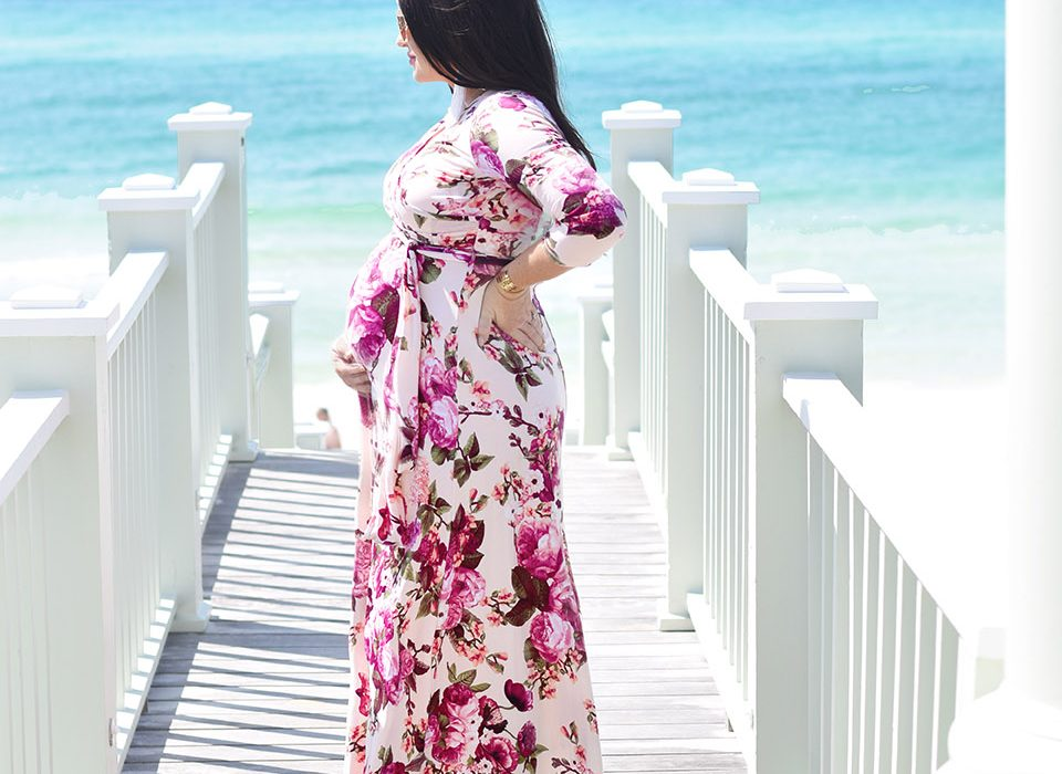 84c1f2b7348cf Floral Maternity Dress & a Dainty Gold Necklace - 30A Mama™ | Jami ...