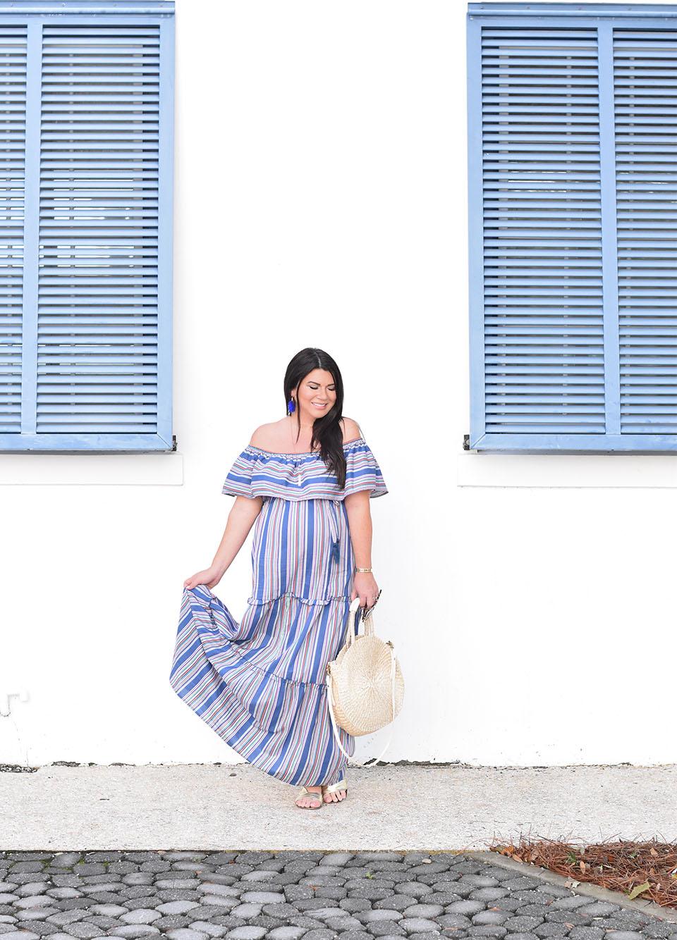 Blue Stripe Maxi Dress on 30A in Alys Beach