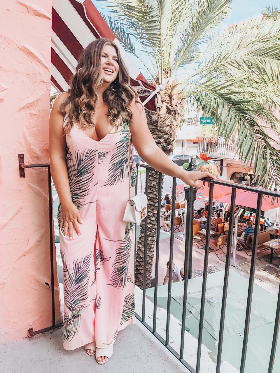 On Espanola Way - South Beach Miami - Pink Palm Jumpsuit