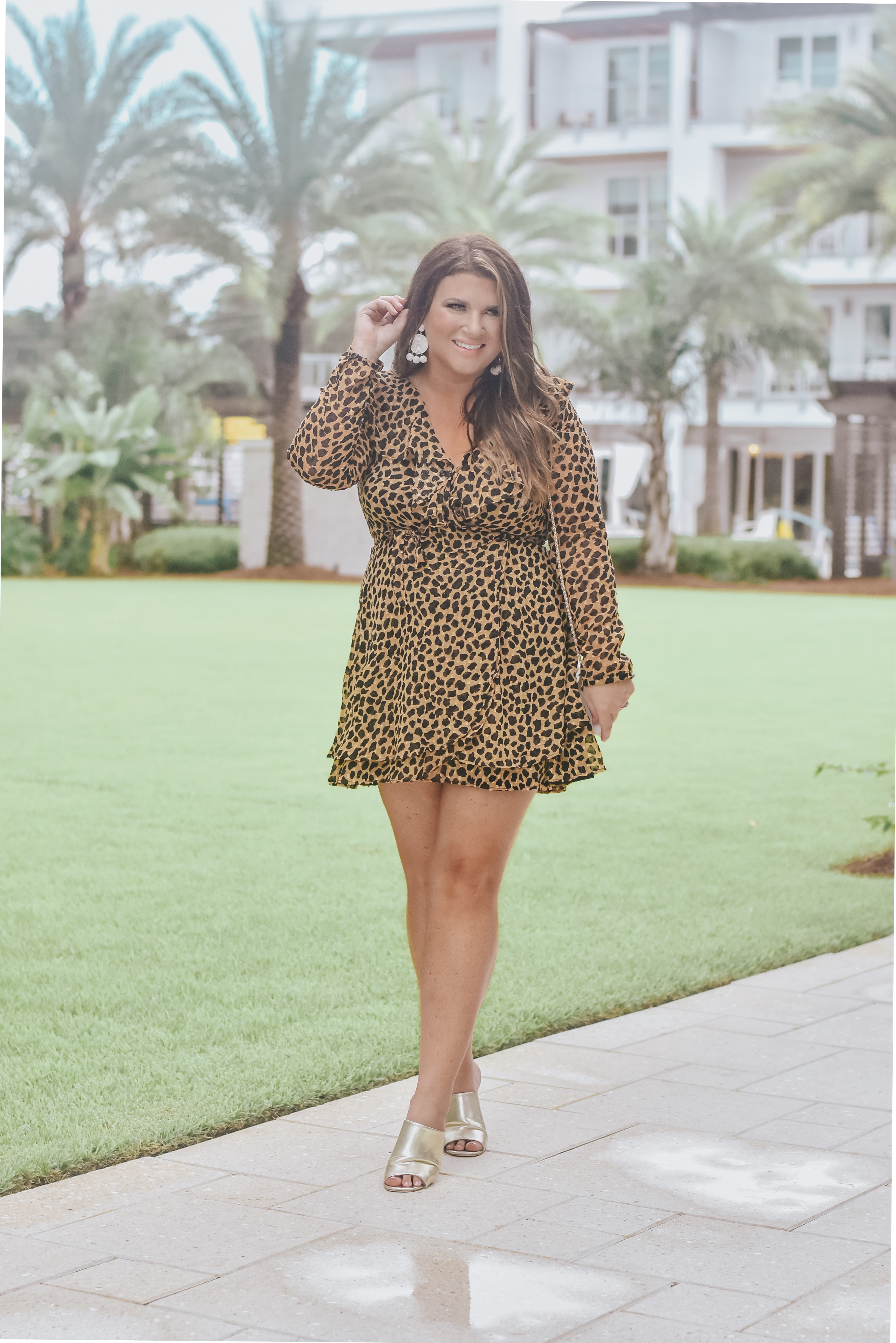 30A Blogger Weekend wearing Free People leopard mini at The Pointe