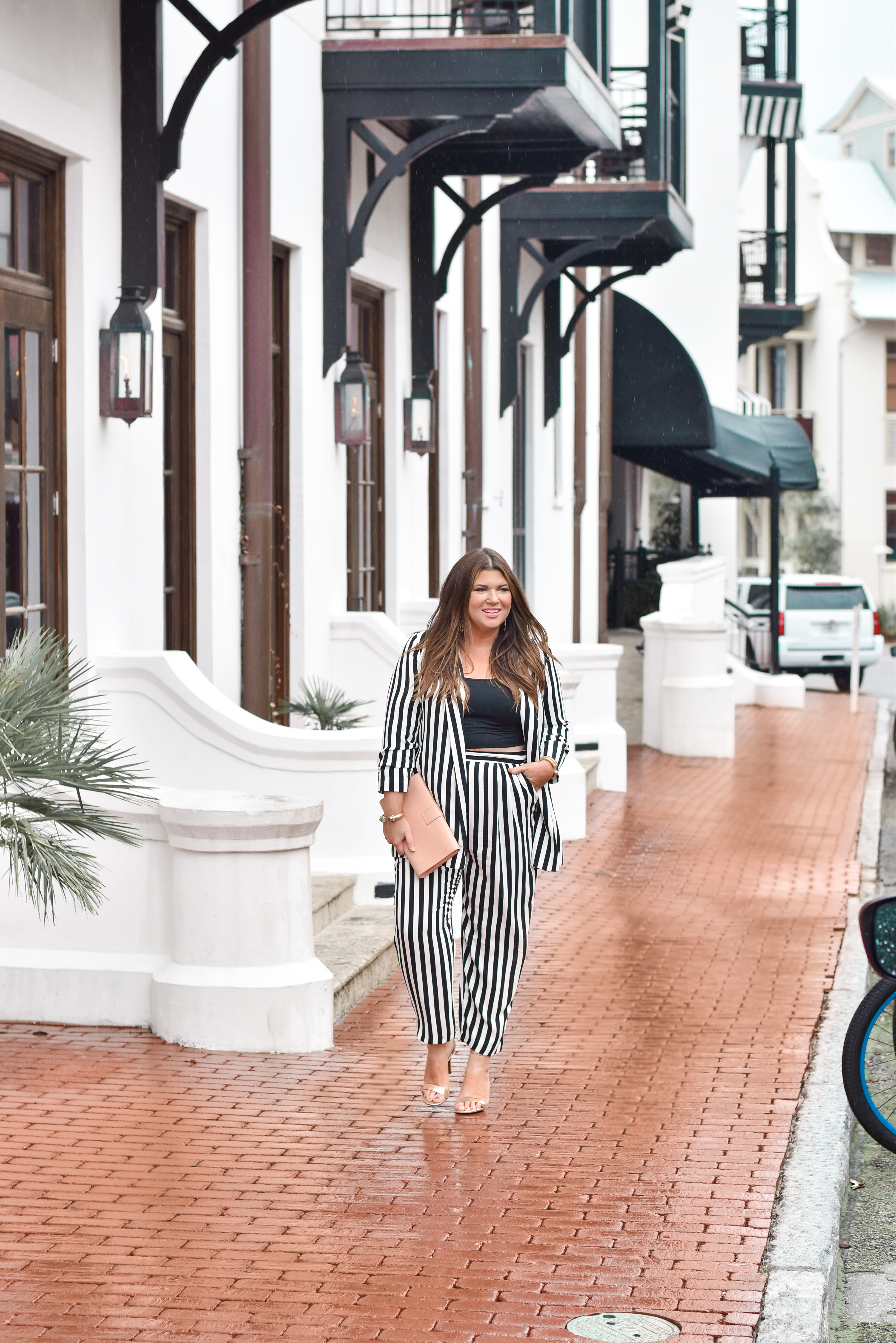 30A Style - Jami Ray wearing a stripe suit in Rosemary Beach-1