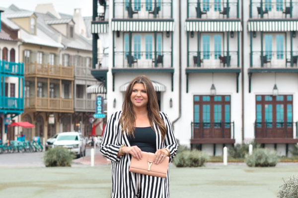 30A Style - Jami Ray wearing a stripe suit in Rosemary Beach at The Pearl RB