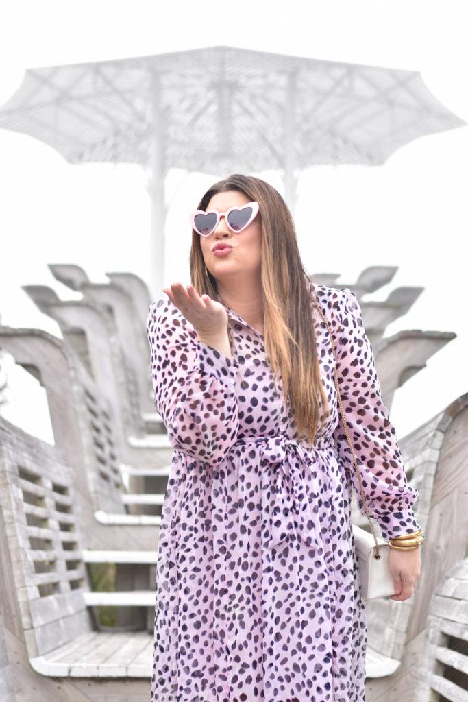 30A Mama Jami Ray wearing Glamorous Lilac Dalmation Dress - Seaside Natchez Pavilion