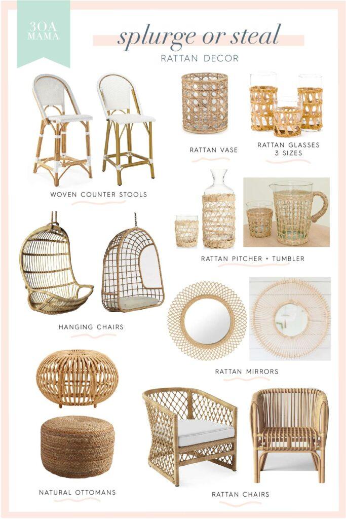 30A Mama Shopping - Home Splurge or Steal - Rattan Decor