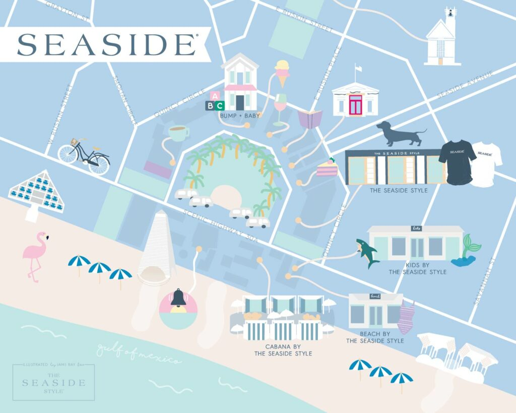Seaside FL  - The Seaside Style map illustrated by Jami Ray, 30A Mama