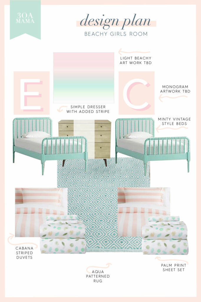 30A Mama Home - Girls Room Design Plan Mockup